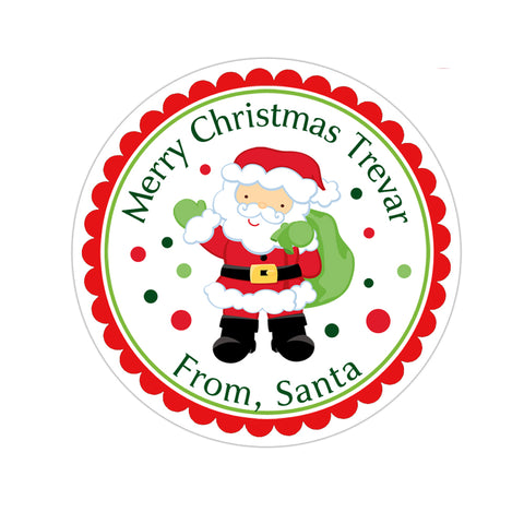 Santa Claus Personalized Christmas Gift Sticker