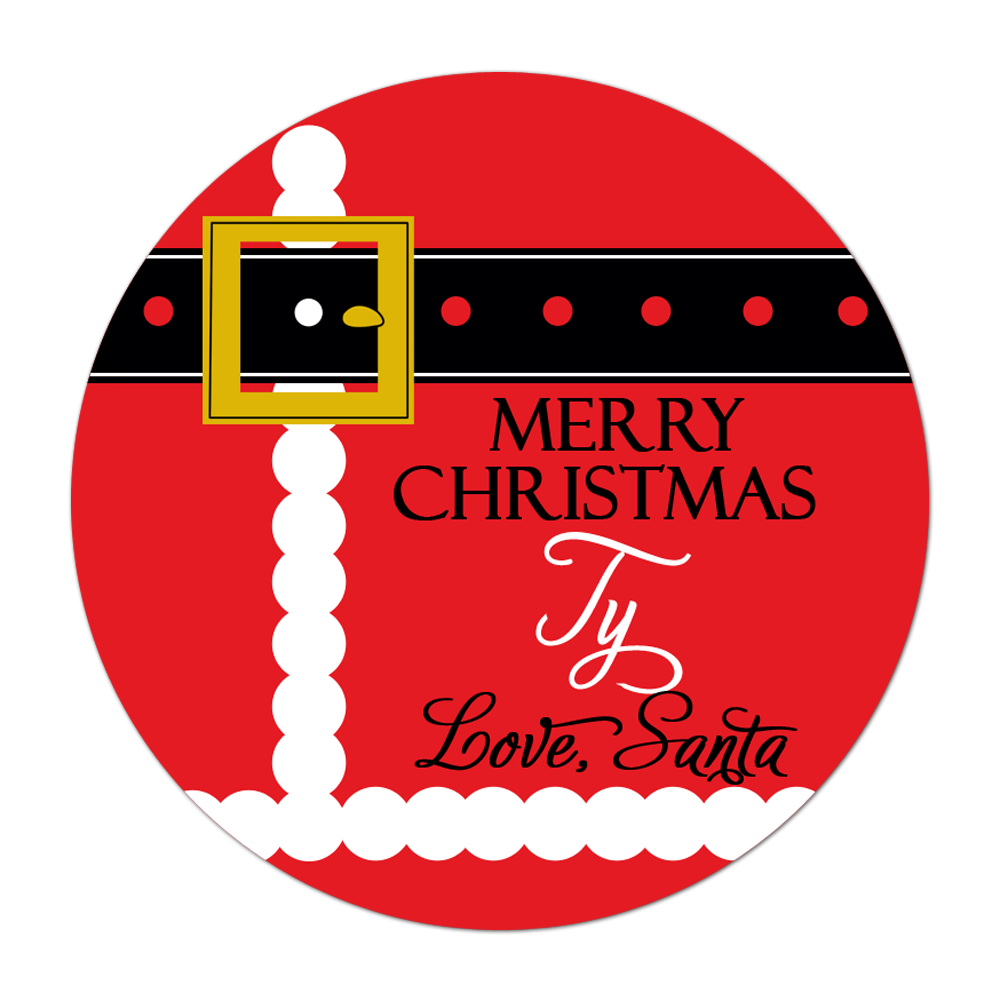 Santa Suit Personalized Sticker Christmas Stickers - INKtropolis