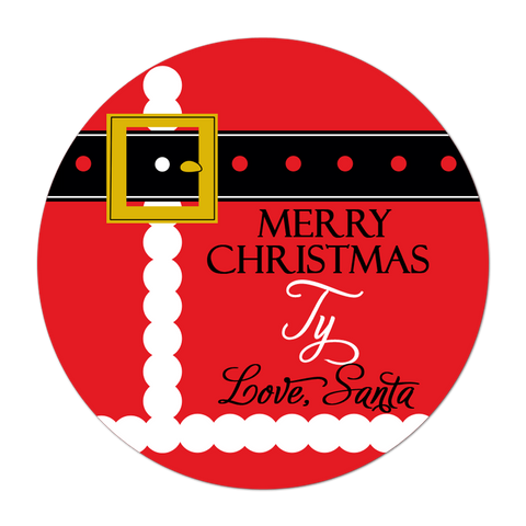 Santa Suit Personalized Christmas Gift Sticker