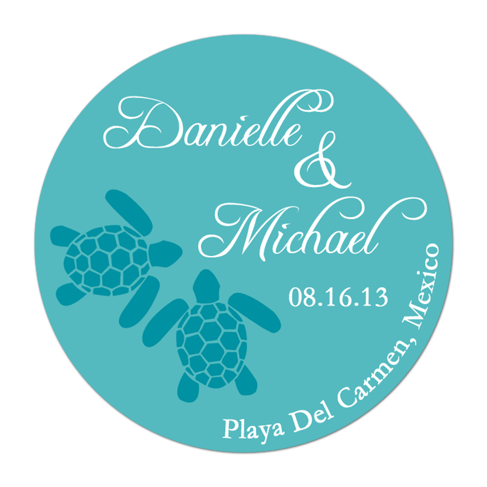 Sea Turtle Personalized Sticker Wedding Stickers - INKtropolis
