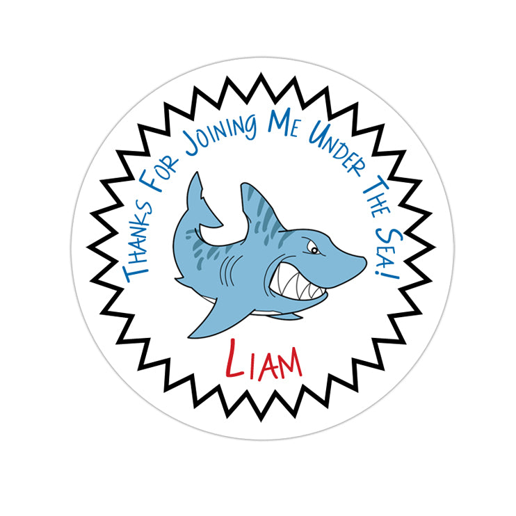 Shark Attack Personalized Sticker Birthday Stickers - INKtropolis