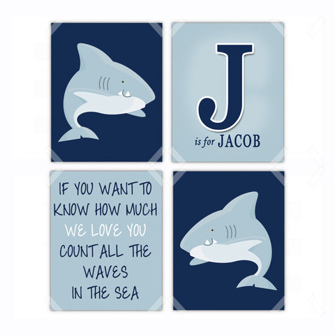 Shark Nursery Wall Art Decor - Set of 4