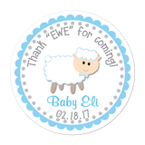 Blue Sheep Personalized Sticker Baby Shower Stickers - INKtropolis