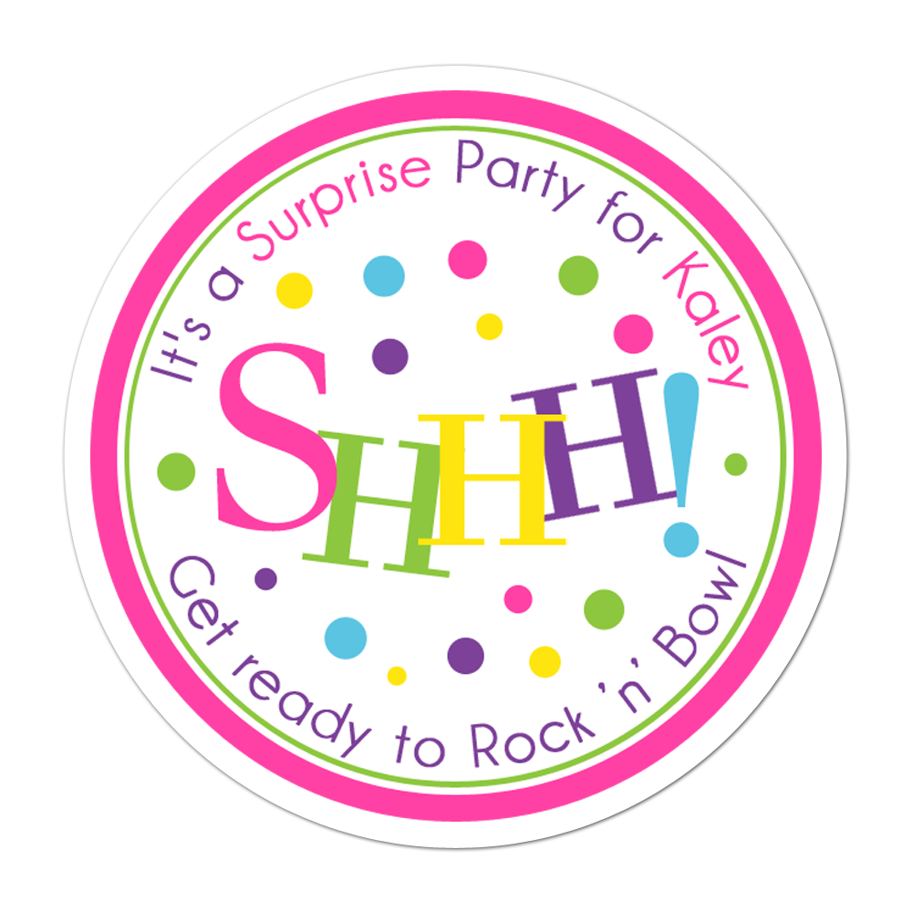 Shhh Surprise Party Personalized Sticker Miscellaneous Stickers - INKtropolis