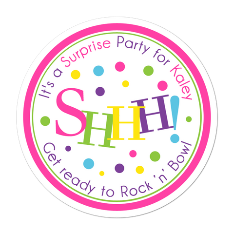 Shhh Surprise Party Personalized Sticker