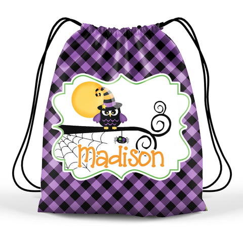 Personalized Halloween Trick Or Treat Bag, Kids Drawstring Bag - Owl Witch