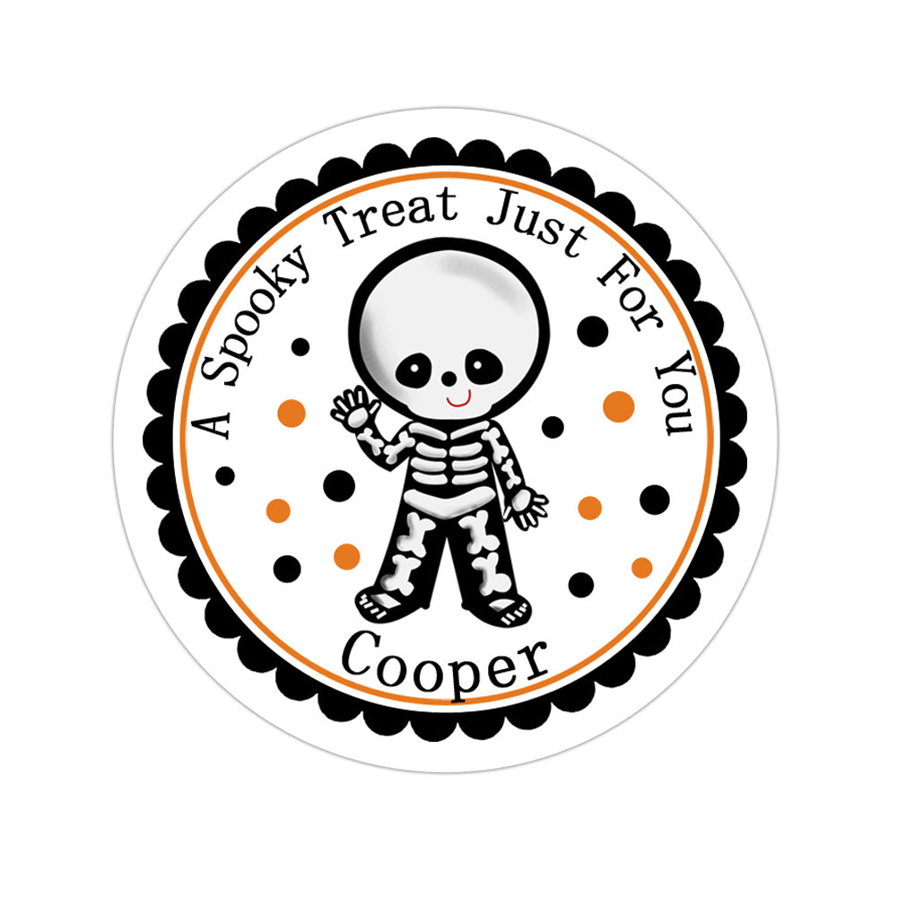 Skeleton Costume Personalized Sticker Halloween Stickers - INKtropolis