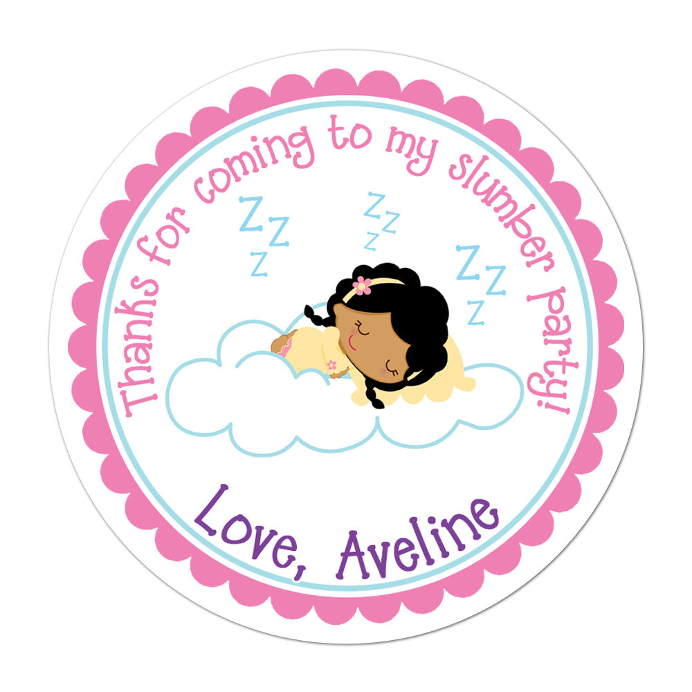 Slumber Party African American Girl Personalized Sticker Birthday Stickers - INKtropolis