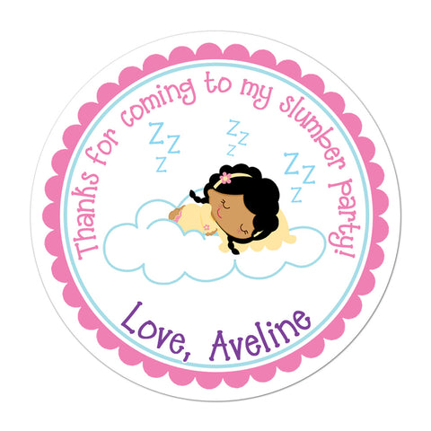 Slumber Party African American Girl Personalized Sticker