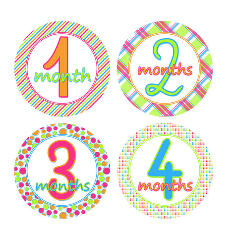 Bright & Bold Colored Monthly Baby Stickers