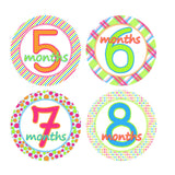 Bright & Bold Colored Monthly Baby Stickers onesie sticker - INKtropolis