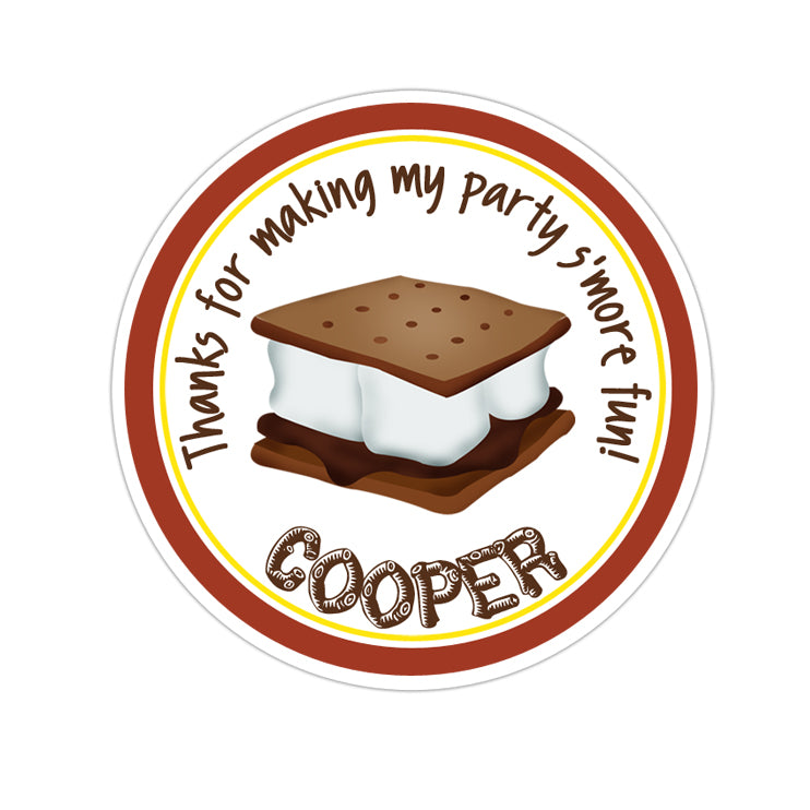 Smore Solid Border Personalized Sticker Birthday Stickers - INKtropolis