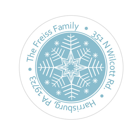 Blue Snowflake Personalized Holiday Sticker