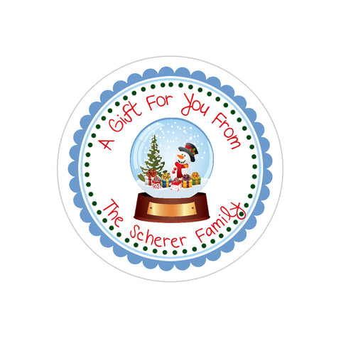 Winter Snowglobe Personalized Holiday Gift Sticker