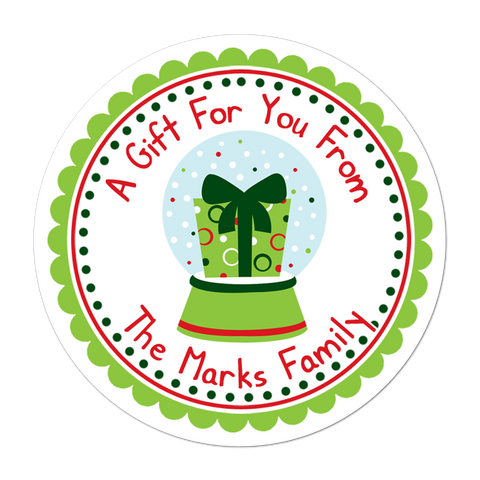 Present Snowglobe Personalized Christmas Gift Sticker