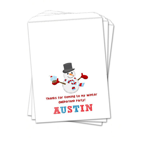 Snowman Cupcake Personalized Christmas Favor Bags