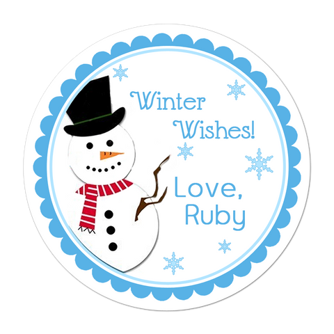 Winter Snowman Personalized Holiday Gift Sticker