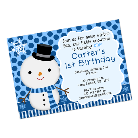 Snowman Digital Birthday Invitation