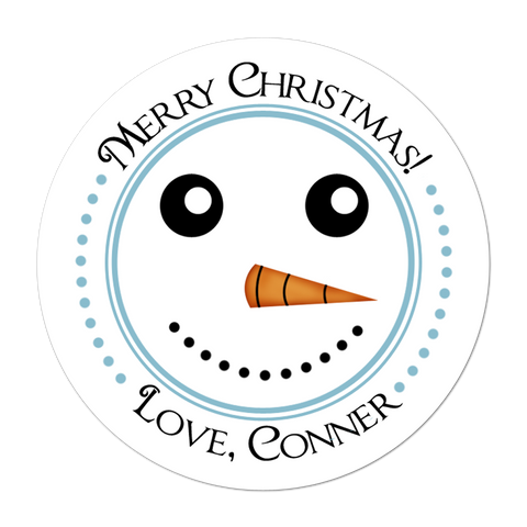 Snowman Face Personalized Holiday Gift Sticker