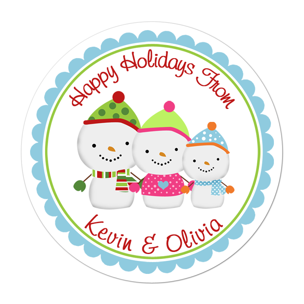 Snowman Family Personalized Sticker Christmas Stickers - INKtropolis