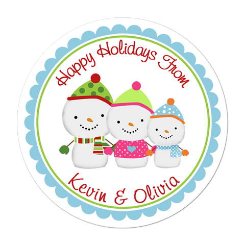 Snowman Family Personalized Holiday Gift Sticker