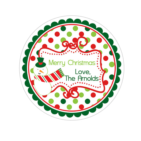 Snowman Fancy Frame Polka Dot Personalized Holiday Gift Sticker