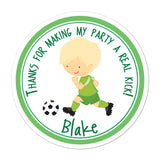 Soccer Player Brown Haired Boy Personalized Sticker Birthday Stickers - INKtropolis