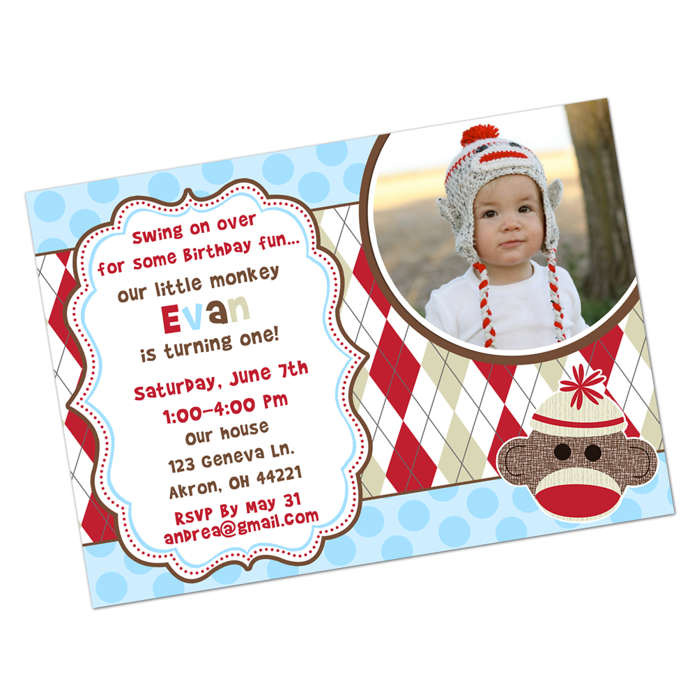 Blue Sock Monkey Digital Invitation Digital Invitations - INKtropolis