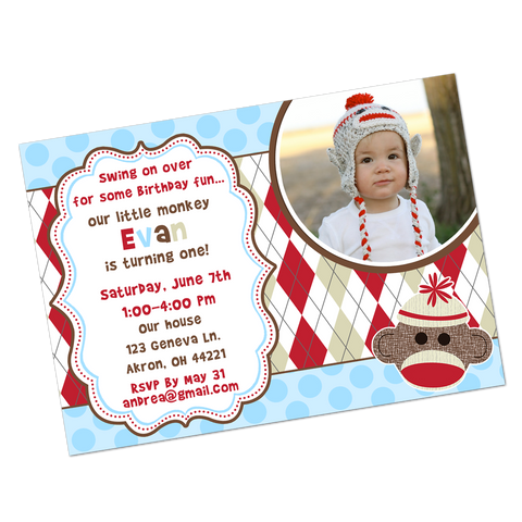 Blue Sock Monkey Digital Invitation