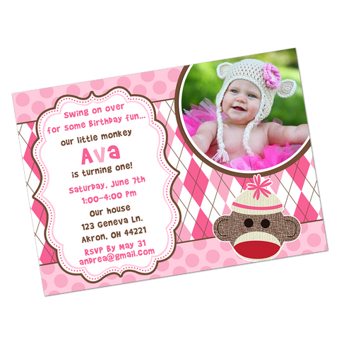 Pink Sock Monkey Digital Invitation