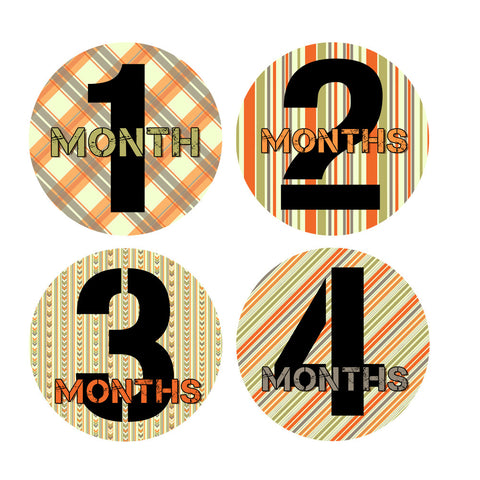 Orange, Green & Gray Patterned Monthly Baby Stickers