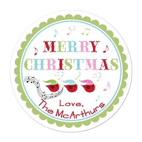 Caroling Birds Personalized Holiday Gift Sticker