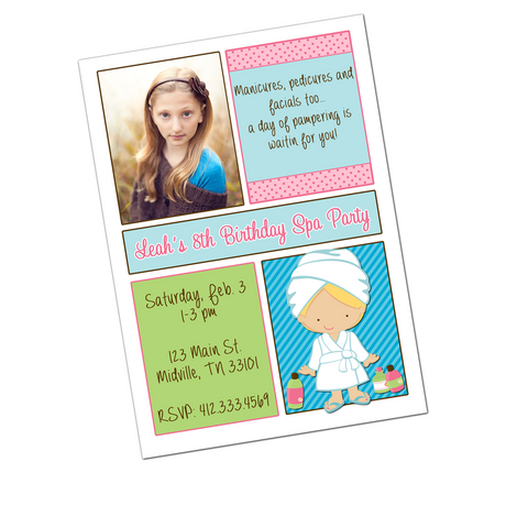Spa Party Blonde Girl Digital Birthday Invitation