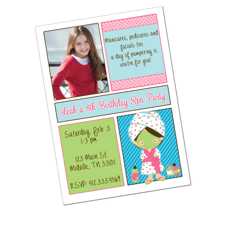 Spa Party Brunette Girl Digital Birthday Invitation