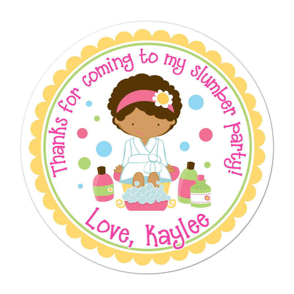 African American Spa Party Girl Personalized Sticker Birthday Stickers - INKtropolis