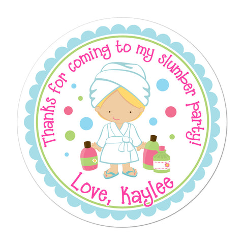Blonde Haired Spa Party Girl Personalized Sticker