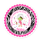 Spa Party Wide Zebra Print Border Personalized Sticker Birthday Stickers - INKtropolis