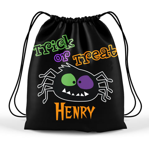 Personalized Halloween Trick Or Treat Bag, Kids Drawstring Bag - Spooky Spider