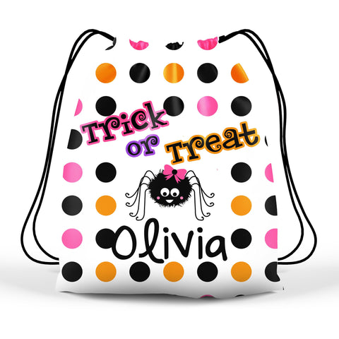 Personalized Halloween Trick Or Treat Bag, Kids Drawstring Bag - Girl Spider