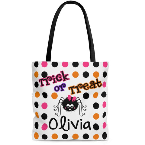 Personalized Halloween Trick Or Treat Bag, Kids Halloween Tote Bag - Girl Spider