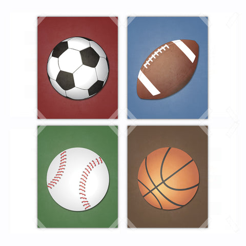 Sports Football Baseball Soccer Basketball - Set of 4