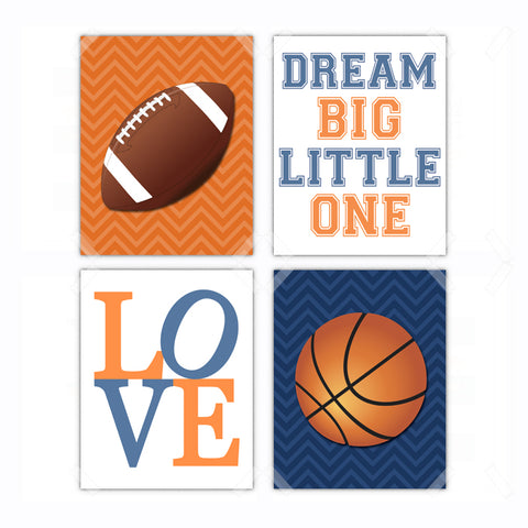 Sports Football Basketball Nursery Wall Art Decor Poster, Print, Framed or Canvas - Set of 4