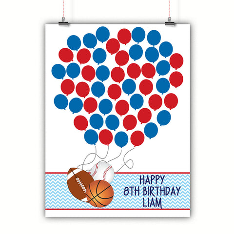 Personalized Birthday Guest Book Alternative - Sports Balloons - Customized Poster, Print, Framed or Canvas, 50 Signatures