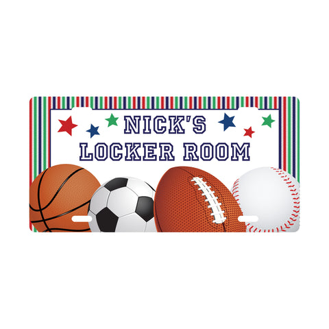 Personalized Sports License Plate Sign - Kids Door Sign