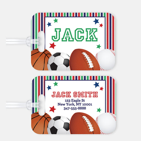 Personalized Sports Luggage Tag, Kids Backpack Tag