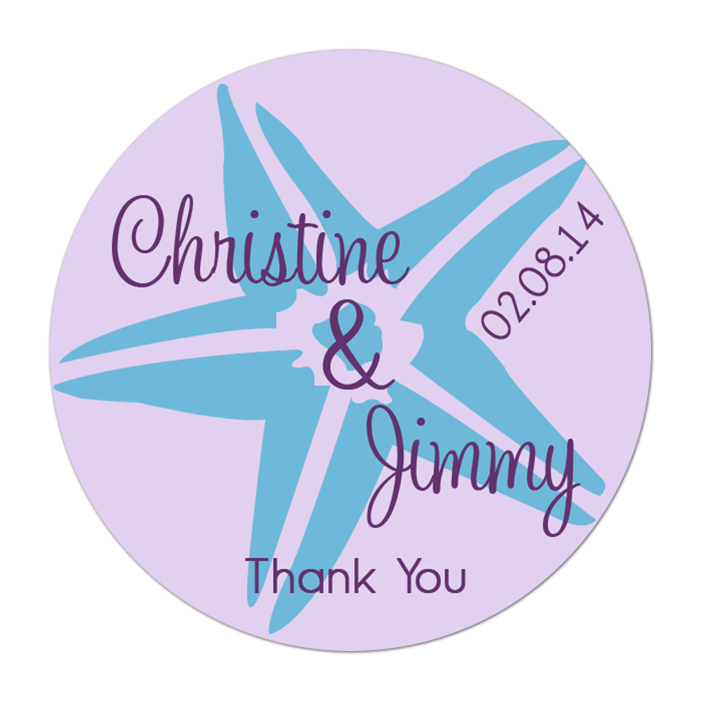 Starfish Personalized Sticker Wedding Stickers - INKtropolis
