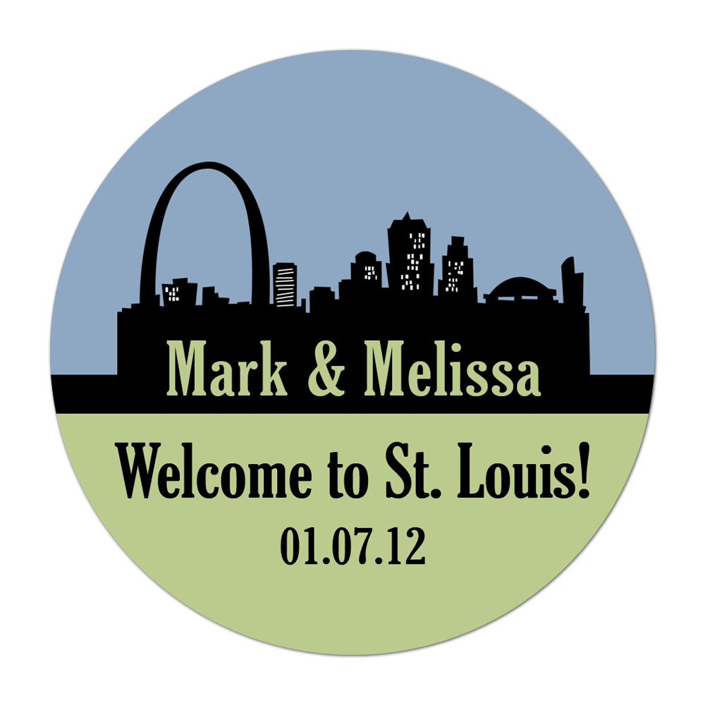 St Louis Missouri Skyline Personalized Sticker Wedding Stickers - INKtropolis