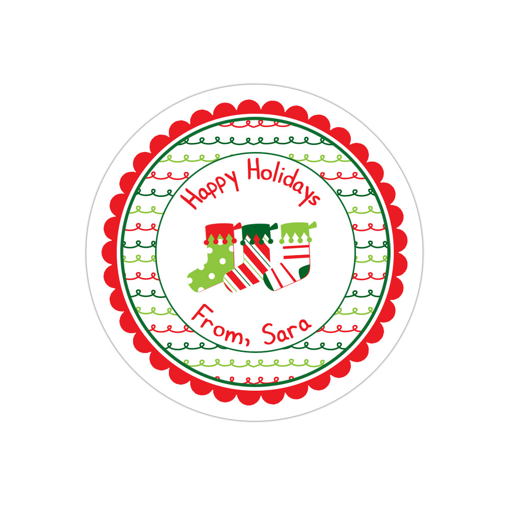 Christmas Stockings Striped Wide Border Personalized Sticker Christmas Stickers - INKtropolis