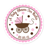 Baby Carriage Personalized Sticker Baby Shower Stickers - INKtropolis