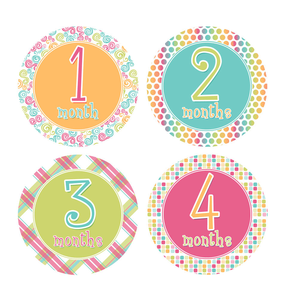 Tropical Colored Monthly Baby Stickers onesie sticker - INKtropolis